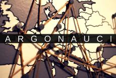 Mapa europy, na środku napis Argonauci na tle czarnego paska