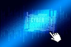 Na niebieskim tle kolumny cyfr oraz wiele słów, w tym Cyber Security