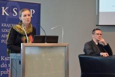 Wystąpienie przy mównicy wygłasza Aleksandra Kobylińska z Instytutu Spraw Publicznych