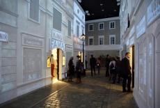 Miasteczko żydowskie - uliczka - w Muzeum Historii Żydów Polskich POLIN