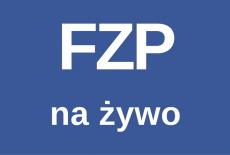 "Napis na ""FZP na żywo"" na niebieskim tle"
