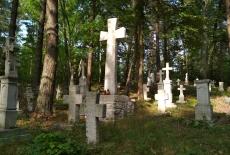 Krzyże i nagrobki w lesie