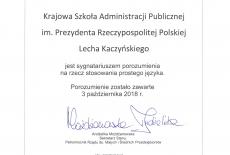 Certyfikat poświadczający podpisanie przez KSAP porozumienia na rzecz stosowania prostego języka.