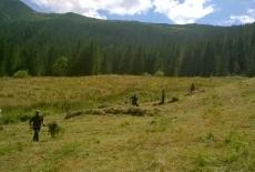 Słuchacze KSAP grabią łąkę w Tatrach