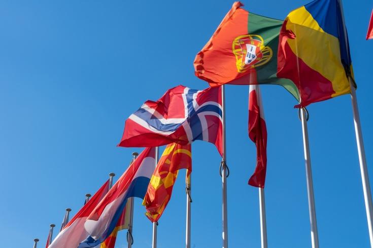 flagi na tle błękitnego nieba