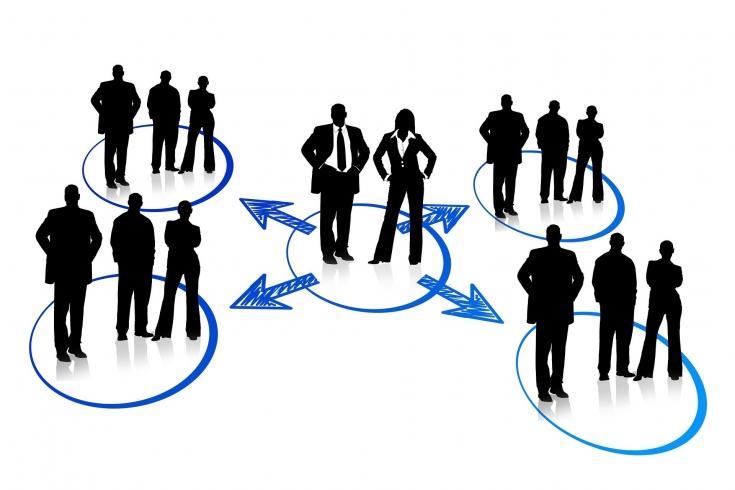 Grafika przedstawia Pięć grup osób które stoją w narysowanych kółkach którzy są połączeniu narysowanymi strzałkami
