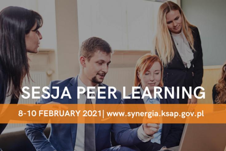 pięć osób siedzi na kanapach, patrzą w laptop stojący przed nimi na stole, dyskutują. Na te zdjęcia napis: sesja peer learning. 8-10 February 2021, www.synergia.ksap.gov.pl
