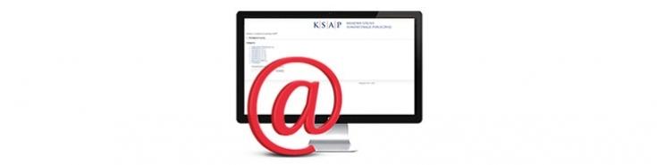 """Na zdjęciu monitor i duża ikona """"małpka"""" email"""