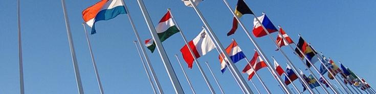 powiewające flagi państw członkowskich UE